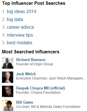LinkedIn top influencer searches